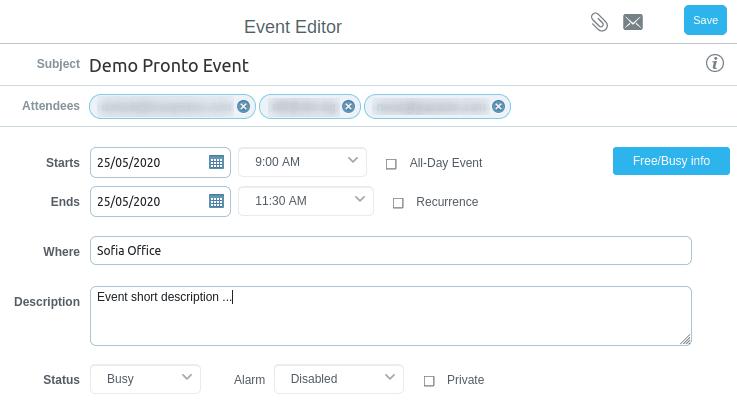 Създаване на събитие Demo Pronto Event в cMailPro календар