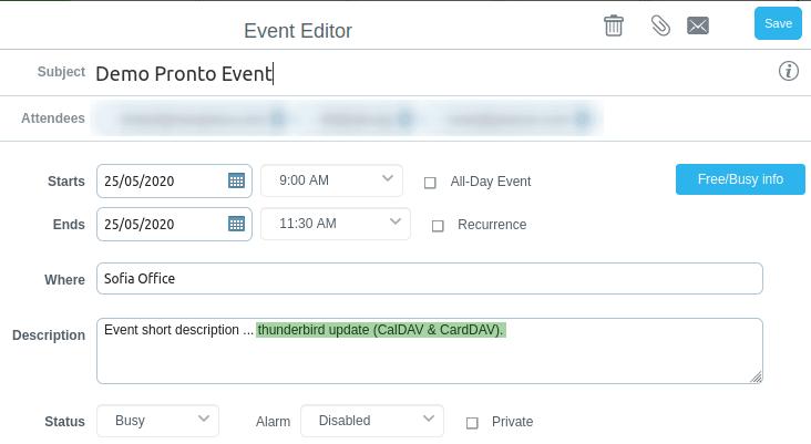 Редактираната промяна се запазва в Demo Pronto Event