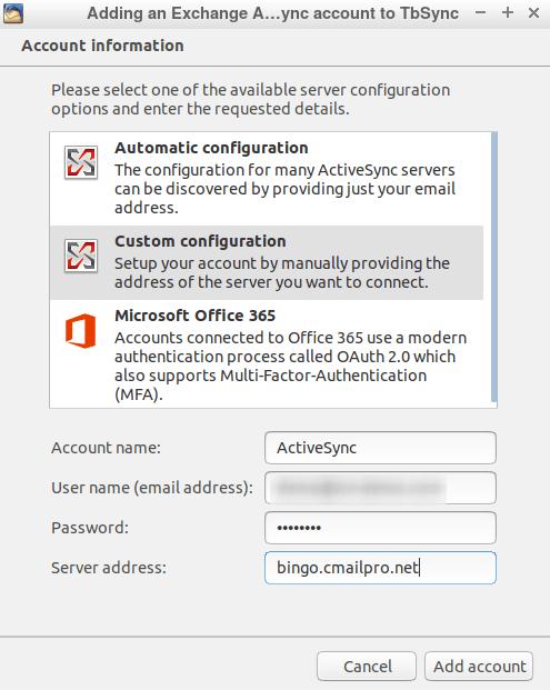 Въвеждане на данни за конфигуриране Custom configuration