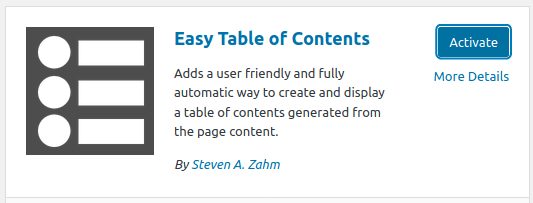 Инсталиране и активиране на плъгина Easy Table of Contents