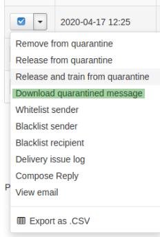 Меню с опции за отделно имейл съобщение