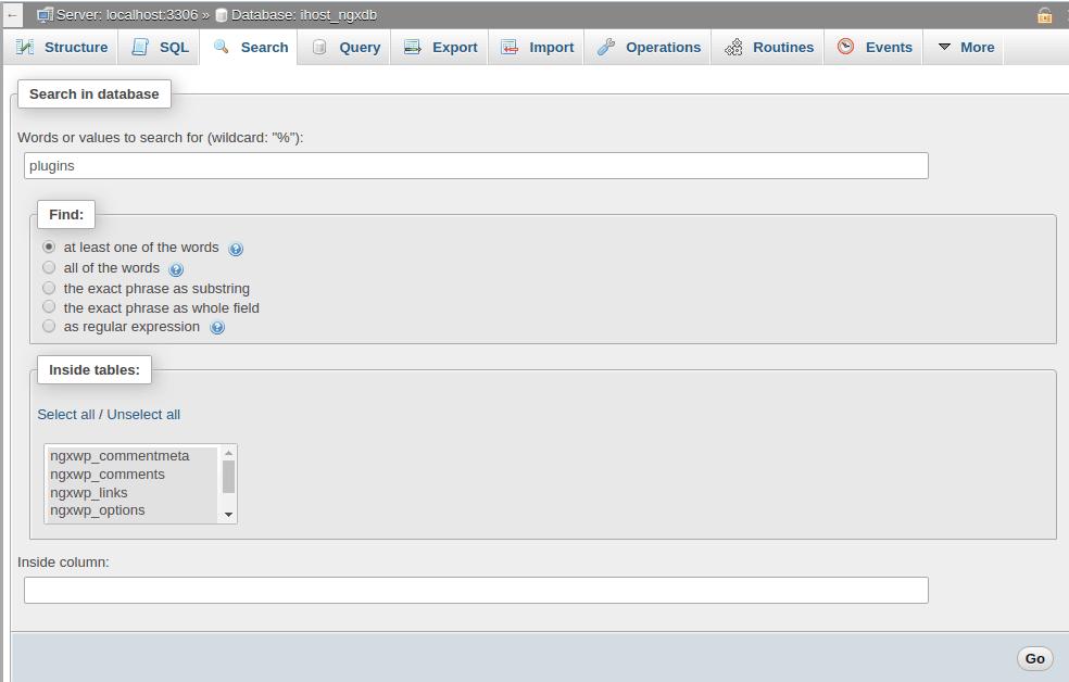Функция търсене Search в phpMyAdmin