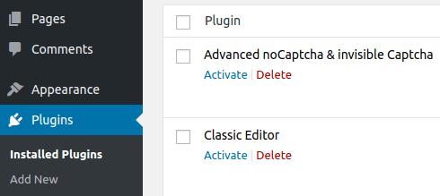 Деактивирани плъгини в WordPress