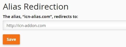 Интерфейс за пренасочване на паркиран домейн в cPanel