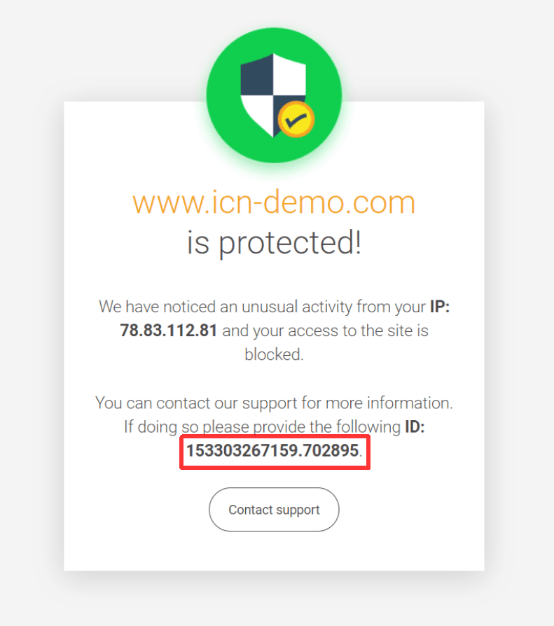 Помощна уеб страница при блокиране на заявка