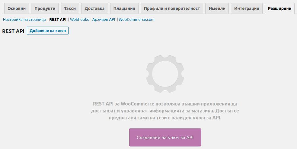 Начален изглед на панела REST API