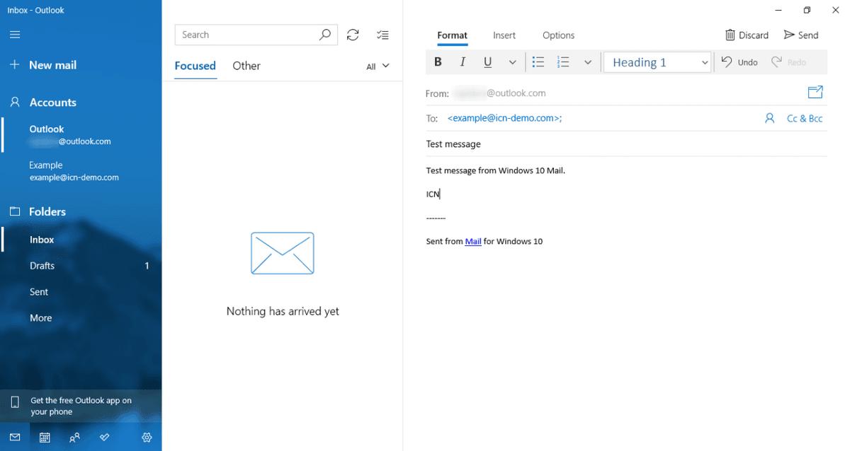 Интерфейс за изпращане на тестово съобщение