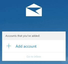 Интерфейс за добавяне на нов акаунт в Windows 10 Mail