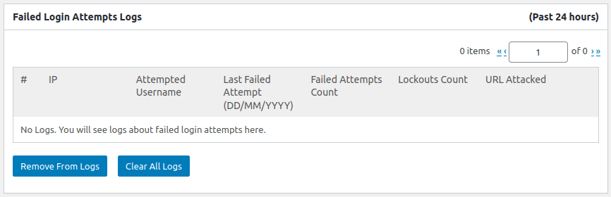 Таблица за логове в панел Failed Login Attempts Logs