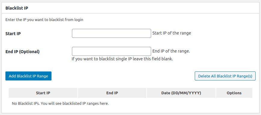 Настройки в панела Blacklist IP