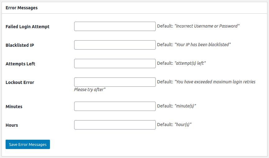 Настройки в панела Error Messages