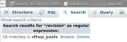 Резултат от търсене в phpMyAdmin