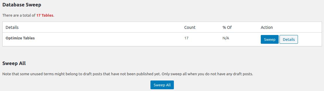 Бутон Sweep All за изпълнение на цялостно почистване на базата данни