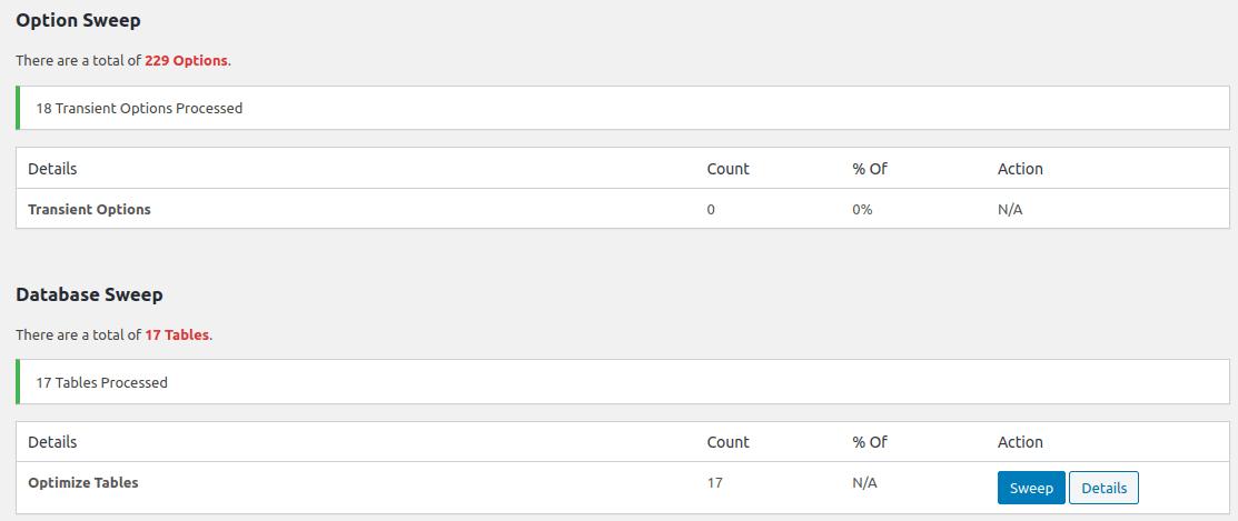 Изглед на отчет в WP-Sweep в началото на всяка секция