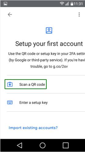 Опция за сканиране на QR код