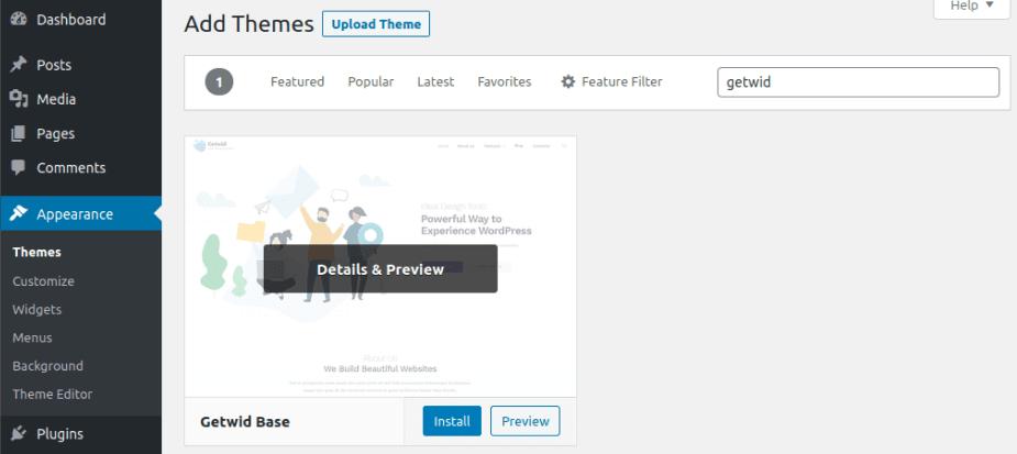 Инсталиране на Getwid Base в WordPress