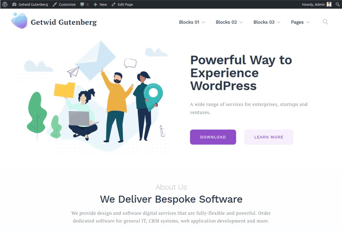 Изглед на инсталираната тема Getwid Base