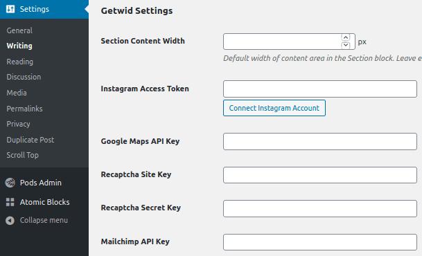 Секция Getwid Settings за въвеждане на API ключове