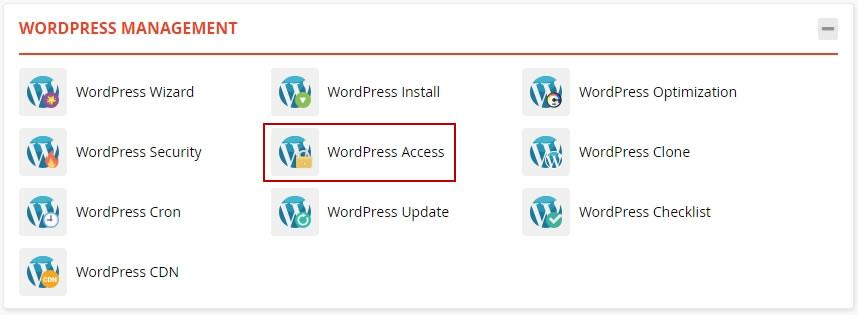 достъп до WordPress Access в WordPress Management