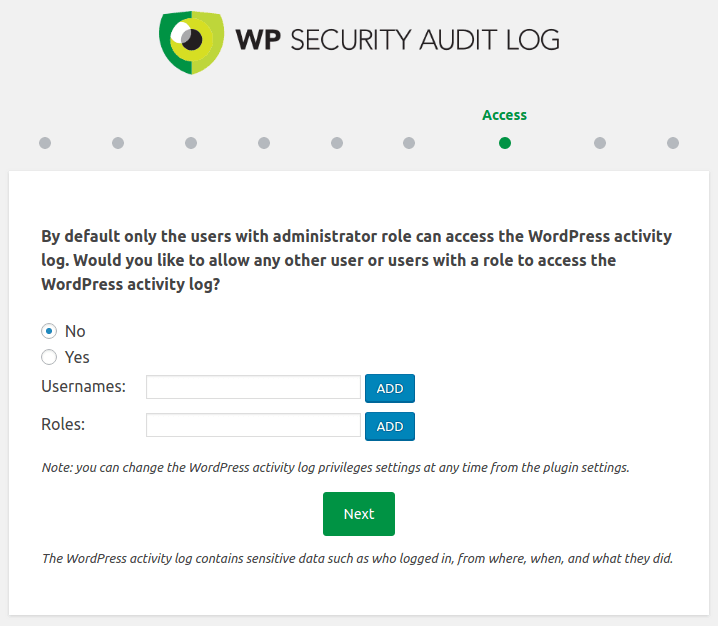 Ниво на достъп до Audit Log в WordPress