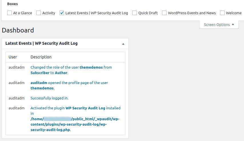 Панел за кратка информация от Audit Log в Dashboard