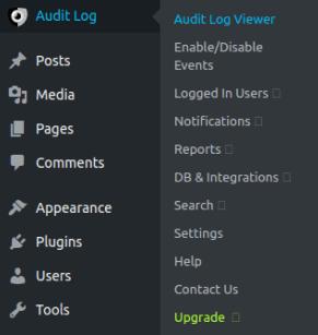 Линк Audit Log в главното меню