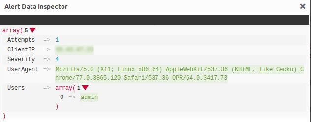 Подробен запис в Alert Data Inspector