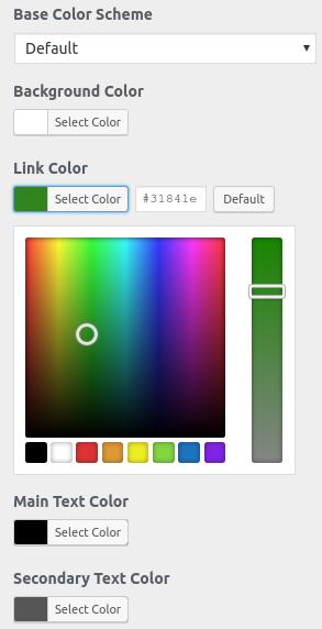 Секция Colors в Customizer