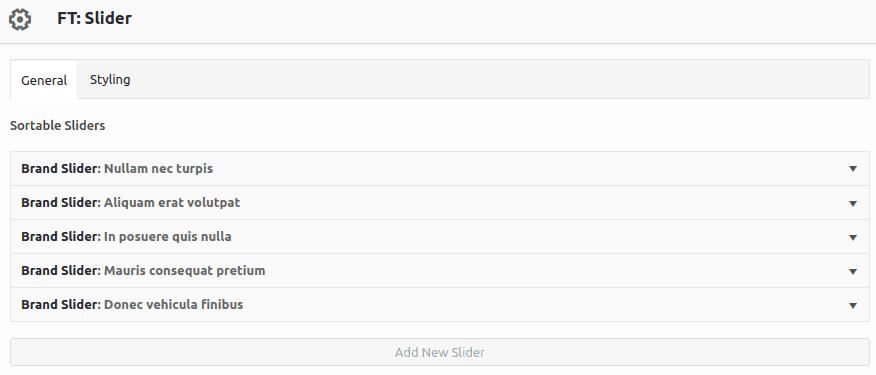 Интерфейси за конфигуриране на елементи в Slider