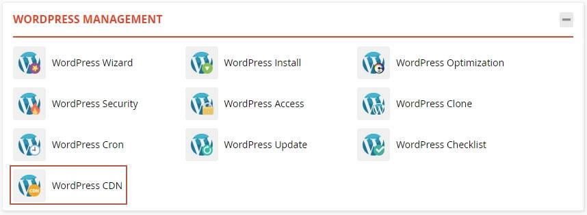 достъп до WordPress CDN в WordPress Management