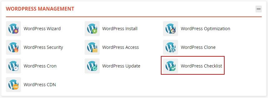 достъп до WordPress Checklist в WordPress Management