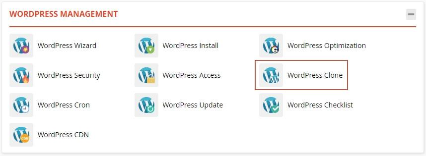 достъп до WordPress Clone в WordPress Management