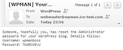 Съдържание на писмото, изпратено от WordPress до администратора