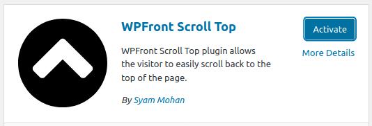 Инсталиране и активиране на плъгина WPFront Scroll Top