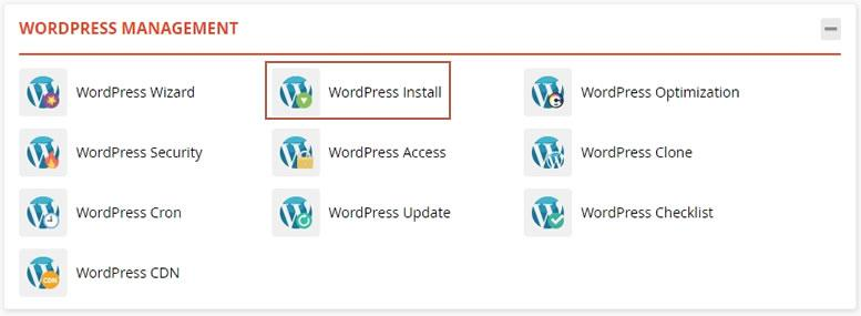 достъп до WordPress Install в WordPress Management