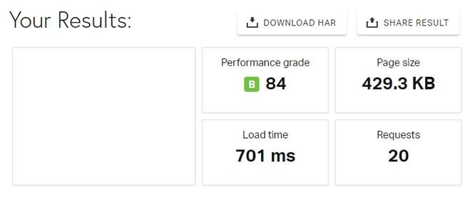 тест на бързината на сайта при включен WordPress Optimization