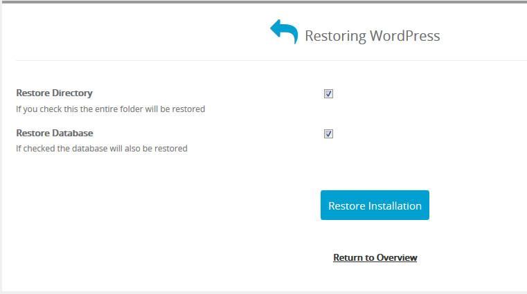 стартиране на възстановяването с Restore Installation
