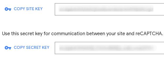 Ключове на reCAPTCHA в панела за регистрация