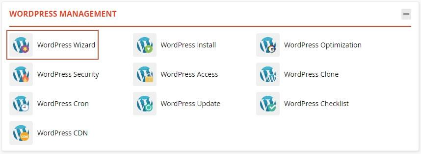 WordPress Wizard access link in the WordPress Management section