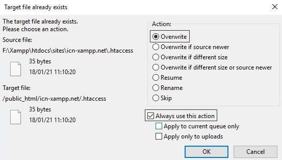 указваме да се презаписват файловете с дублирани имена