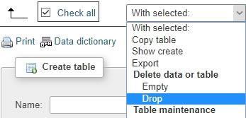 изтриване на таблиците в базата данни на сайта