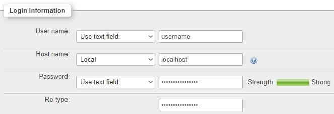 Информация за свързване в PHPMyAdmin